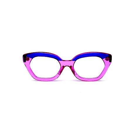 Armação para óculos de Grau Gustavo Eyewear G70 8. Cor: Violeta e azul translúcido. Haste azul.
