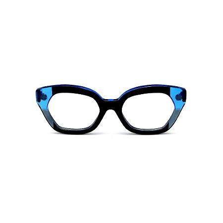 Armação para óculos de Grau Gustavo Eyewear G70 9. Cor: Preto, azul e fumê translúcido. Haste azul.