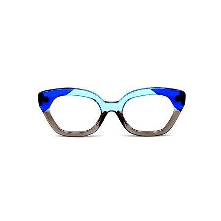 Armação para óculos de Grau Gustavo Eyewear G70 15. Cor: Azul, azul claro e fumê translúcido. Haste azul.