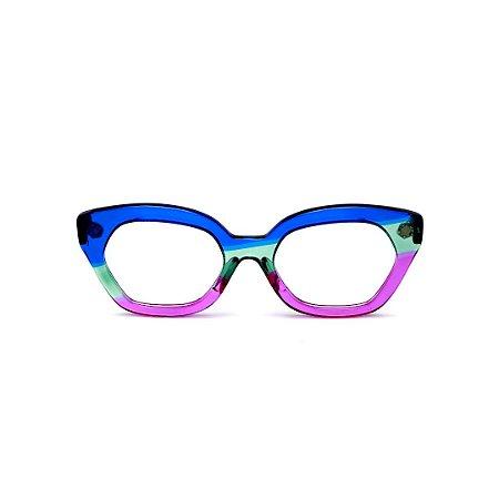 Armação para óculos de Grau Gustavo Eyewear G70 18. Cor: Azul, acqua e violeta translúcido. Haste azul.
