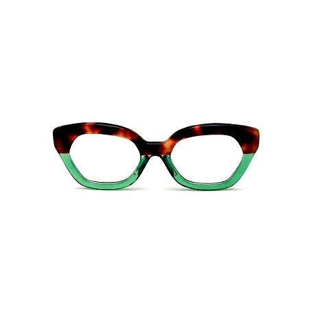 Armação para óculos de Grau Gustavo Eyewear G70 20. Cor: Animal print e verde translúcido. Haste animal print.
