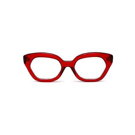 Armação para óculos de Grau Gustavo Eyewear G70 22. Cor: Vermelho translúcido. Haste animal print.