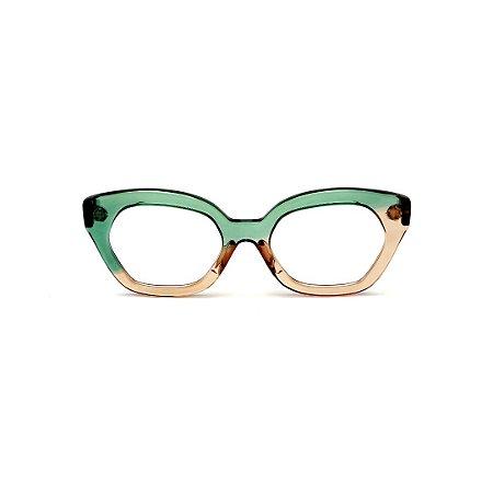 Armação para óculos de Grau Gustavo Eyewear G70 30. Cor: Verde e âmbar translúcido. Haste verde.