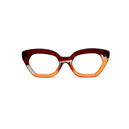 Armação para óculos de Grau Gustavo Eyewear G70 28. Cor: Marrom, fumê e laranja translúcido. Haste marrom.