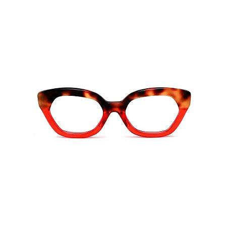 Armação para óculos de Grau Gustavo Eyewear G70 20. Cor: Animal print e vermelho translúcido. Haste animal print.