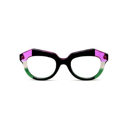 Armação para óculos de Grau Gustavo Eyewear G37 1. Cor: Preto, violeta, fumê e verde translúcido. Haste verde.