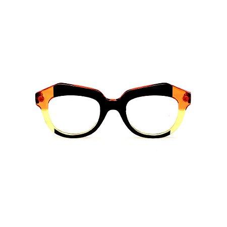Armação para óculos de Grau Gustavo Eyewear G37 6 Cor: Preto, laranja e amarelo translúcido. Haste preta.