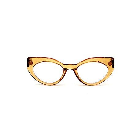 Armação para óculos de Grau Gustavo Eyewear G93 16. Cor: Âmbar translúcido. Haste preta.
