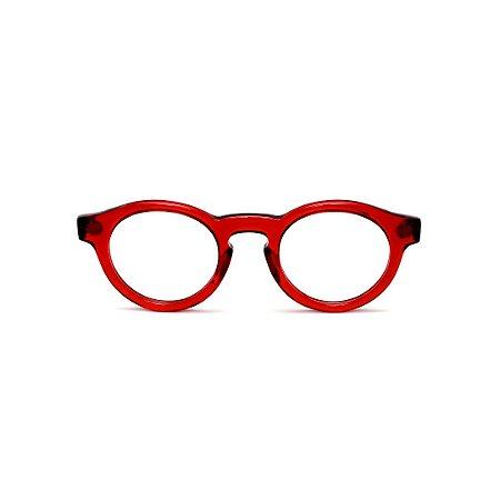 Armação para óculos de Grau Gustavo Eyewear G29 3. Cor: Vermelho translúcido. Haste animal print.