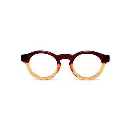 Armação para óculos de Grau Gustavo Eyewear G29 5. Cor: Marrom e laranja translúcido. Haste marrom.