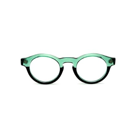 Armação para óculos de Grau Gustavo Eyewear G29 13. Cor: Acqua translúcido e preto. Haste preta.