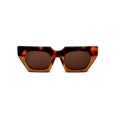 Óculos de Sol Gustavo Eyewear G137 7. Cor: Animal print e caramelo translúcido. Haste animal print. Lentes marrom.