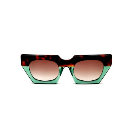 Óculos de Sol Gustavo Eyewear G137 8. Cor: Animal print e verde translúcido. Haste animal print. Lentes marrom.