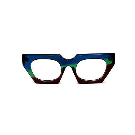 Armação para óculos de Grau Gustavo Eyewear G137 1. Cor: Azul, verde e marrom translúcido. Haste azul.
