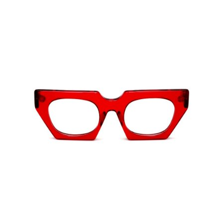 Armação para óculos de Grau Gustavo Eyewear G137 4. Cor: Vermelho translúcido. Haste animal print.