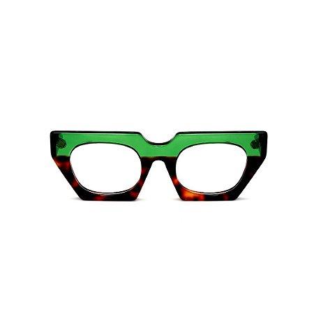Armação para óculos de Grau Gustavo Eyewear G137 6. Cor: Verde translúcido e animal print. Haste verde.