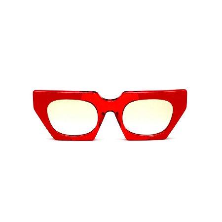 Armação para óculos de Grau Gustavo Eyewear G137 10. Cor: Vermelho opaco e translúcido. Haste animal print.