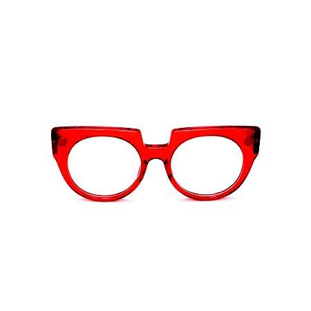 Armação para óculos de Grau Gustavo Eyewear G135 1. Cor: Vermelho translúcido. Haste animal print.