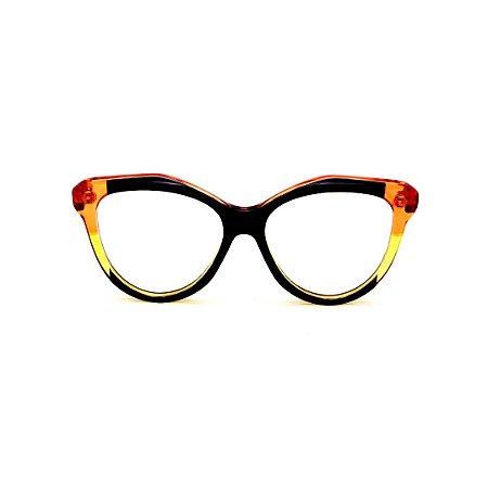 Armação para óculos de Grau Gustavo Eyewear G126 1. Cor: Preto, laranja e amarelo translúcido. Haste laranja.