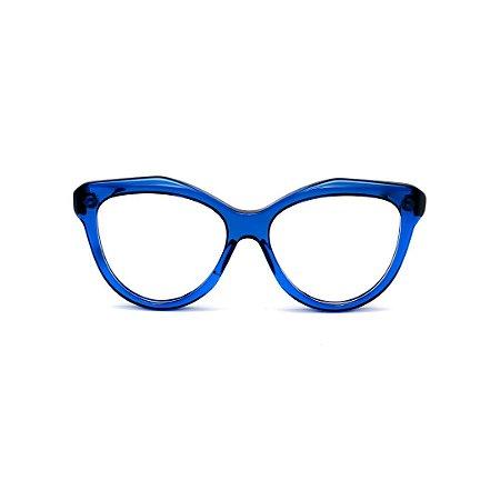Armação para óculos de Grau Gustavo Eyewear G126 2. Cor: Azul translúcido. Haste animal print.
