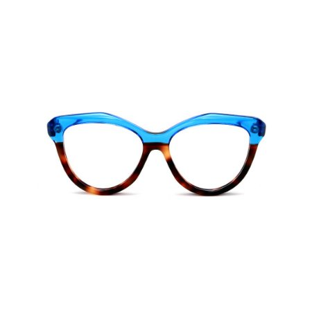 Armação para óculos de Grau Gustavo Eyewear G126 3. Cor: Azul translúcido e animal print. Haste azul.