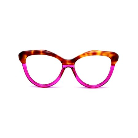 Armação para óculos de Grau Gustavo Eyewear G126 5. Cor: Violeta translúcido e animal print. Haste violeta.