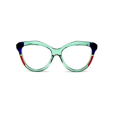 Armação para óculos de Grau Gustavo Eyewear G126 6. Cor: Acqua, azul e vermelho translúcido. Haste acqua.