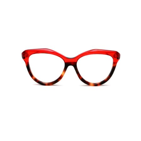 Armação para óculos de Grau Gustavo Eyewear G126 7. Cor: Vermelho translúcido e animal print. Haste vermelha.