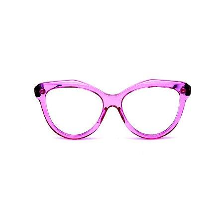 Armação para óculos de Grau Gustavo Eyewear G126 8. Cor: Violeta translúcido. Haste preta.