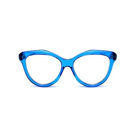 Armação para óculos de Grau Gustavo Eyewear G126 9. Cor: Azul translúcido. Haste preta.
