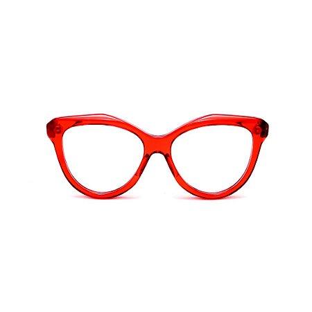 Armação para óculos de Grau Gustavo Eyewear G126 11. Cor: Vermelho translúcido. Haste animal print.