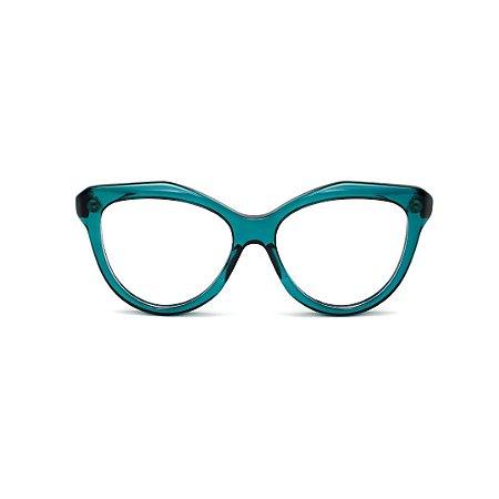 Armação para óculos de Grau Gustavo Eyewear G126 14 . Cor: Verde translúcido. Haste animal print.