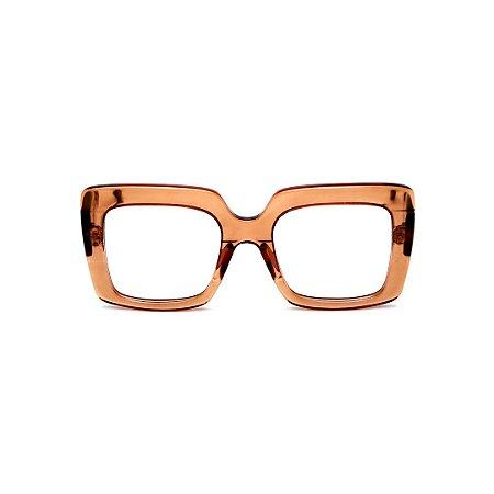 Armação para óculos de Grau Gustavo Eyewear G59 3. Cor: Âmbar translúcido. Haste animal print.