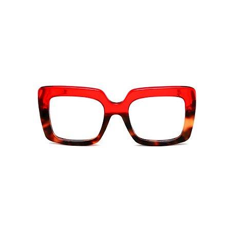 Armação para óculos de Grau Gustavo Eyewear G59 9. Cor: Vermelho translúcido e animal print. Haste animal print.