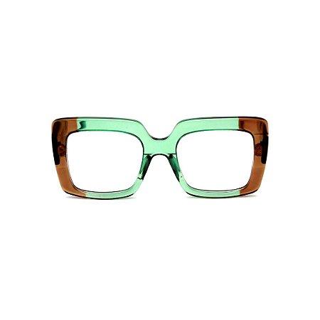 Armação para óculos de Grau Gustavo Eyewear G59 11. Cor: Verde e caramelo translúcido. Haste verde.