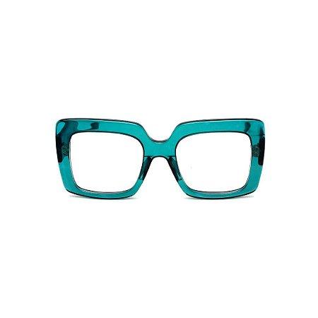 Armação para óculos de Grau Gustavo Eyewear G59 12. Cor: Acqua translúcido. Haste preta.