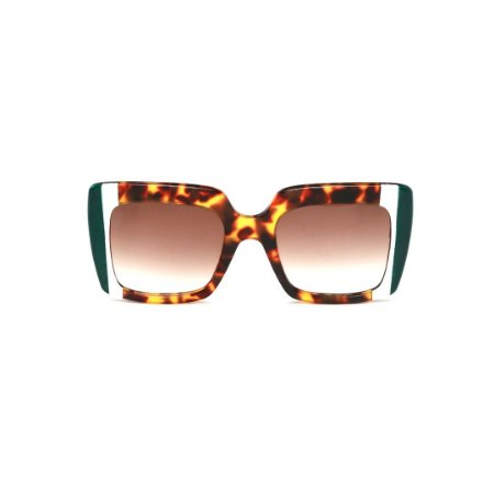 Óculos de Sol Gustavo Eyewear G59 3. Cor: Animal print com listras verde e branca. Haste animal print. Lentes marrom.