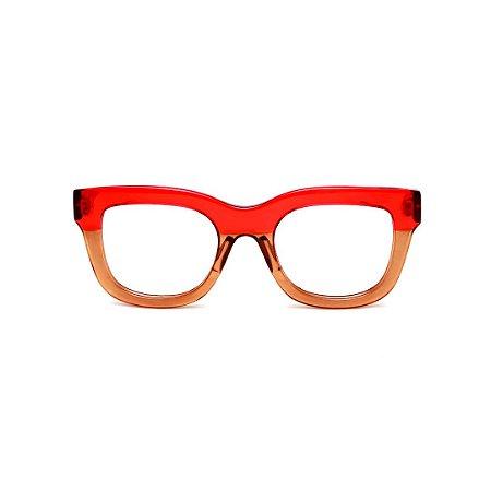 Armação para óculos de Grau Gustavo Eyewear G57 3. Cor: Vermelho e âambar translúcido. Haste preta.