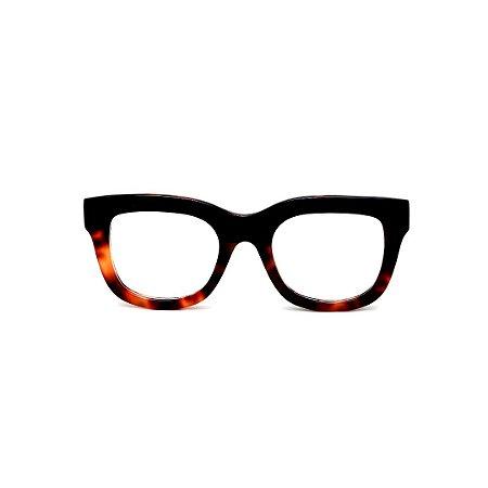 Armação para óculos de Grau Gustavo Eyewear G57 1. Cor: Preto e animal print. Haste preta.
