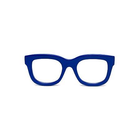 Armação para óculos de Grau Gustavo Eyewear G57 7. Cor: Azul opaco. Haste preta.