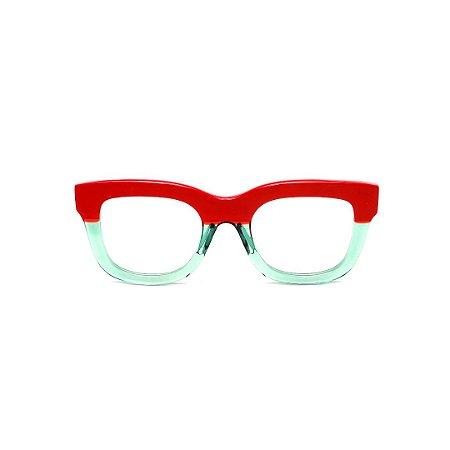 Armação para óculos de Grau Gustavo Eyewear G57 11. Cor: Vermelho opaco e acqua translúcido. Haste animal print.