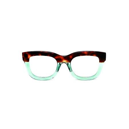 Armação para óculos de Grau Gustavo Eyewear G57 20. Cor: Animal print e acqua translúcido. Haste animal print.