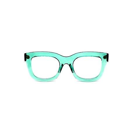Armação para óculos de Grau Gustavo Eyewear G57 21. Cor: Acqua translúcido. Haste animal print.
