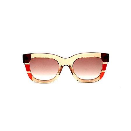 Óculos de Sol Gustavo Eyewear G57 1. Cor: Âmbar, marrom, vermelho e laranja translúcido. Haste animal print. Lentea marrom.
