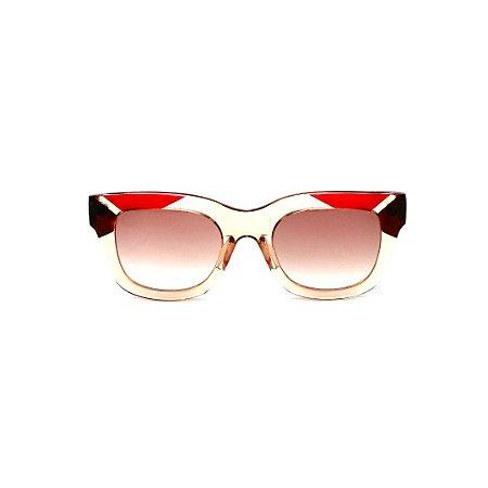 Óculos de Sol Gustavo Eyewear G57 3. Cor: Âmbar, marrom e vermelho translúcido. Haste vermelha. Lentes marrom.