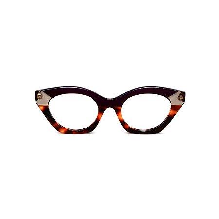 Armação para óculos de Grau Gustavo Eyewear G71 6. Cor: Violeta opaco, fumê e animal print. Haste violeta.