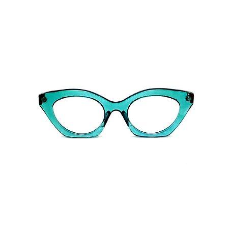 Armação para óculos de Grau Gustavo Eyewear G71 7. Cor: Acqua translúcido. Haste animal print.