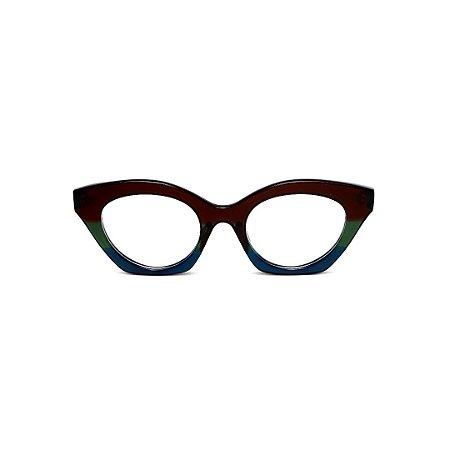 Armação para óculos de Grau Gustavo Eyewear G71 9. Cor: Marrom, verde e azul opaco. Haste preta.