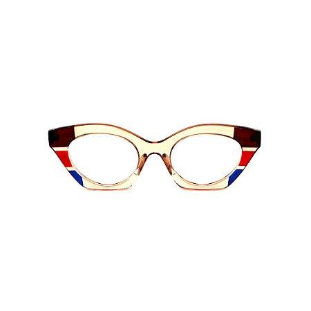 Armação para óculos de Grau Gustavo Eyewear G71 15. Cor: Âmbar, marrom, vermelho e azul translúcido. Haste animal print.