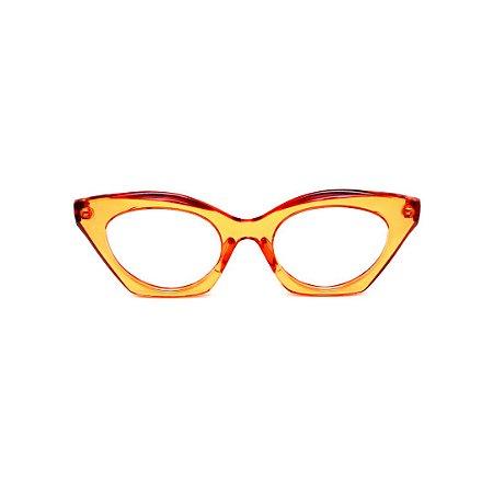 Armação para óculos de Grau Gustavo Eyewear G71 19. Cor: Laranja translúcido. Haste animal print.